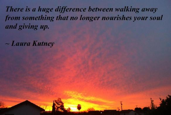 On knowing when it is time to walk away.